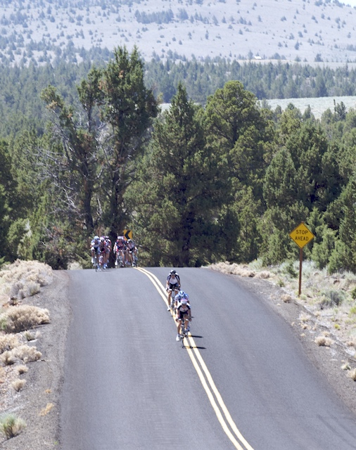 First group just after KOM includes Chad Beyer (USA-VMG) and Brent Bookwalter (BMC)