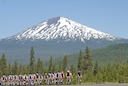 Peloton in front of Mount Bachcelor