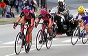 Dotsie Cowden (T-Mobile), Lara Kroepsch (T-Mobile) and Erinne Willock (Equipe Cycliste Rona)