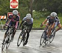 Lauren Hall (Vera Bradley Foundation), Shelley Evans (Peanut Butter & CO) and Alison Starnes (TIBCO) leading in the rain
