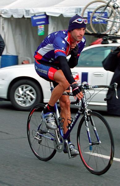 George Hincapie (USA) before race - 08:29 EDT