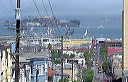 View of Alcatraz from atop Taylor Street, Cable Cars lower right - 11:50 PDT