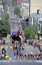 George Hincapie (US Postal) on Taylor Steet looks back at peloton. He will be caught soon. - 12:33 PDT
