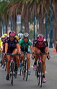 Kristin Armstrong (T-Mobile), Christine Thorburn (Webcor), and Dede Barry (T-Mobile) take early lead - 7:33 AM