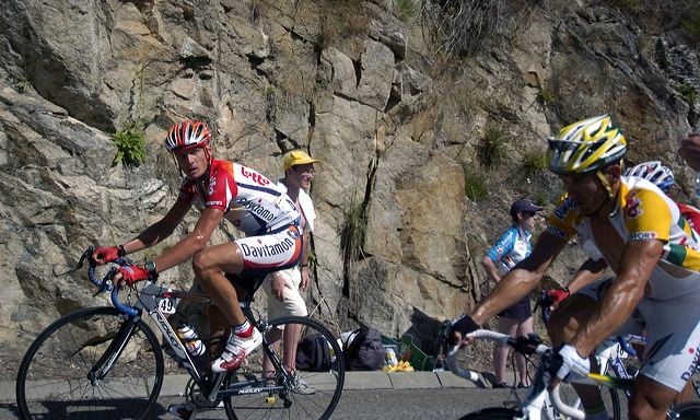 Wim Vansevenant (Davitamon-Lotto) looks over at teammate Robbie McEwen.
