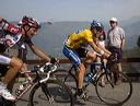 Lance Armstrong (Discovery Channel) and Ivan Basso (CSC) on Pla d'Adet.