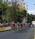 Oscar Sevilla (T-Mobile) leads peloton in Pau.