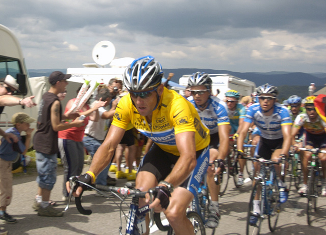 Race Leader Lance Armstrong on Col du Ballon d'Alsace, Stage 9