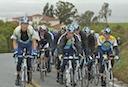 Astana teammates Jani Brajkovic, José Rubiera, Yaroslav Popovych, Chris Horner and Gregory Rast lead peloton on Sierra Road