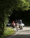 Michael Rogers (HTC-Columbia), David Zabriskie (Garmin) and Levi Leipheimer (Radioshack) on Pine Flat Rd nearing Bonny Doon KOM